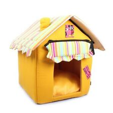 HY NEW Soft Cozy Luxury Yellow Tent Dog Cat House Pet Bed For Small-Medium Pets