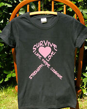 Breast Cancer Awareness Words Heart Pink Ribbon Missy Fit T-Shirt S-3XL tee