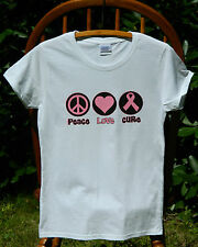 Breast Cancer Awareness Peace Love Cure Pink Ribbon Missy Fit T-Shirt S-3XL tee