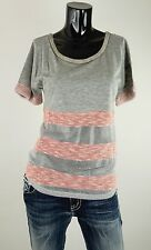 NEW MISS ME SHIRT  S-M-L JMT1008 RED SHEER TOP WITH STRIPES***