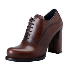 Prada Women's Brown Leather High Heel Ankle Boots Shoes Sz 5 6 8 8.5 9 10