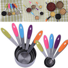 5PCS Silicone Handle Measuring Spoon Stainless Steel Measuring Cup Kitchen Tool