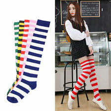Sexy Women Girl Thigh High Striped Over the Knee Socks Cotton Stockings PY