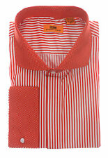 Steven Land Red & White Striped Cutaway Collar French Cuff Cotton Dress Shirt