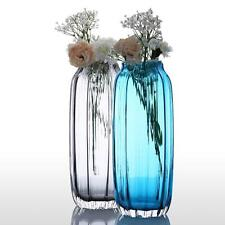 CASAMOTION Ribbed Hand Blown Art Glass Vase Gift Boxed Blue/Gray 12 Inch Z9E3