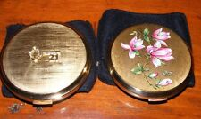 SET OF 2 VINTAGE STRATTON COMPACT MAKE UP MIRROR COMPACTS '21' & FLOWERS & CASES