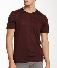 John Varvatos Star USA Men's Burnout Pocket Crew Tee Shirt Oxblood $89 msrp NWT