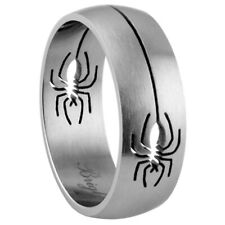 8mm Stainless Steel 316L Matte Finish Spider Design Ring Band / Rough polishing