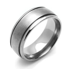 8mm Titanium Ring Dark Color Beveled Edges Grooved Dome Band / Gift box