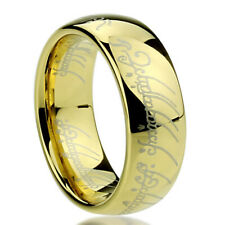 8mm Titanium Ring Laser Lord of Rings Yellow Color Band Gift box / Ship from USA