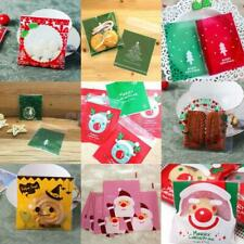 100 x Self Adhesive Cookie Candy Package Gift Bags Cellophane Christmas Party