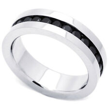 Men 6mm Stainless Steel 316L Ring Black Color CZ Stone Channel Set Eternity Band
