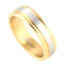 Men's 6mm Stainless Steel 316L Ring gold silver Two Tone Band / Gift box
