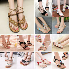 Womens Summer Beach Sandals Bohemia Thong Slippers Wedge Flip Flop Flats Shoes