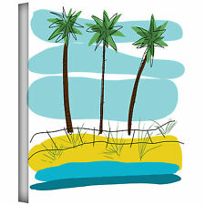 ArtWall 'Beach Day Palms II' by Jan Weiss Print of Painting on Wrapped Canvas