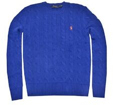 NWT Polo Ralph Lauren Men's Long Sleeve Roving Cable Sweater Olympic Royal L