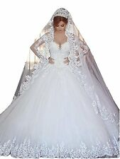 Women's Lace Appliques Sweetheart Wedding Dresses Long Sleeves Bridal Gown W1603