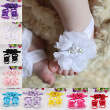 Colourful Foot Flower Barefoot Sandals + Headband Set for Baby Infants Girl Gift