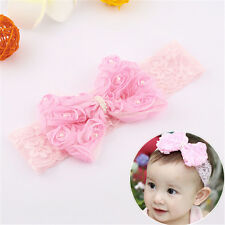 Baby Girls Kids Toddler Pearl Headband Rose Bow Lace Hairband Cute Hair Bows