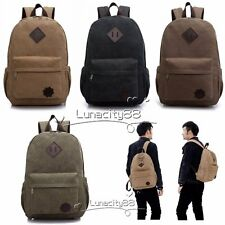 Mens Vintage Canvas Backpack School Laptop Bag Hiking Travel Messenger Rucksack