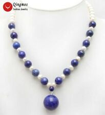 SALE 6-7mm Pearl & 8mm lapis lazuli with 20mm lapis lazuli Pendant necklace-5992