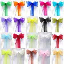 10/50/100PC Organza Chair Cover Sash Bow Wedding Party Reception Banquet Decor