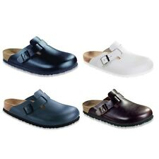 Birkenstock Boston Leather Clogs - black white brown blue - Soft Footbed