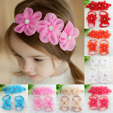 3pcs Baby Infant Girl Barefoot Sandals Shoes Headband Crystal Flower Foot Band