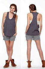 Daftbird Top Double-Sided Striped Racer Back Tank in Gray Womens XS & M NWT $84