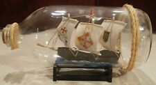 Handcrafted Nautical Decor Santa Maria Ship in a Glass Bottle