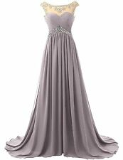 Women's Beaded Bridesmaid Dress Long Prom Evening Gown Long Chiffon Party W1626