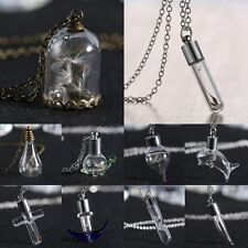 Hot Vintage Natural Dandelion In Glass Wish Bottle Pendant Necklace Long Chain