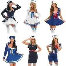 Ladies Sexy Sailor Fancy Dress Costume - Navy Naval Forces Uniform Outfit