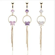 Crystal Butterfly Tassel Navel Dangle Button Belly Ring Body Piercing Jewelry