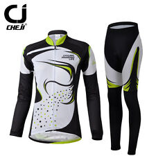 Womens Collar Cycling Suit / Bicycle Jersey Set Bike Long Sleeve Jacket Pants