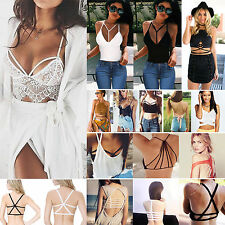 Sexy Womens Strappy Bra Tank Tops Bustier Vest Crop Top Bralette Loose Shirts
