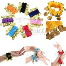 New Pair Colorful Belly Dance Wrist Ankle Cuff Arm Bracelet Dancing Gold Coins
