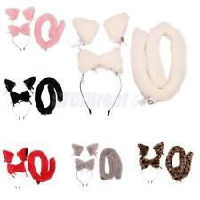 Faux Fur Fox Cat Ear Cosplay Costume Three Piece Holiday Party Fancy Dress