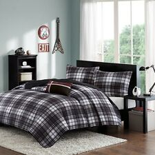 NEW Twin XL Full Queen Bed 4 pc Black White Red Plaid Comforter Pillow Set NWT
