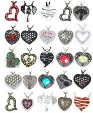 New Heart Lucite Crystal Rhinestone Gold Silver Charm Pendant Long Necklace