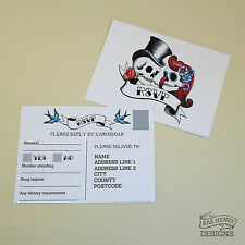 ROCKABILLY SKULLS SWALLOWS RSVP POSTCARDS PERSONALISED WEDDING TATTOO FROM £1.15