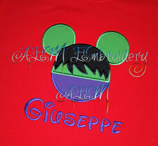 Personalized Hulk Mousehead T-shirt machine embroidered