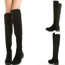 NEW BLACK ROUND TOE STRETCH KNEE HIGH WOMENS RIDING BOOTS LOW FLAT HEEL LUG SOLE