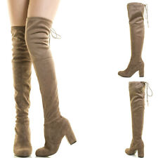 Taupe Slouch Chunky Thick Med High Heel Drawstring Tie Over The Knee Thigh Boots