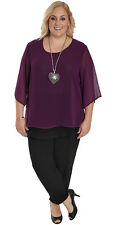 Plus Size Purple Chiffon Top With Black Under Layer Sizes 18 - 28 Curvaceous