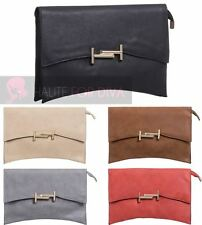 LADIES NEW FAUX LEATHER GOLDEN FRONT DETAIL SNAP ZIP CURVED SHAPE CLUTCH HANDBAG