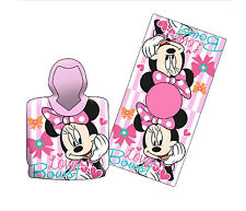 DISNEY MINNIE MOUSE HOODED PONCHO KIDS CHILDRENS VELOUR BEACH BATH SWIM TOWEL