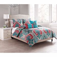 NEW Twin Full Queen King Bed Turquoise Blue Coral Paisley 5 pc Comforter Set NWT