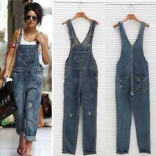 Fashion Womens Denim Casual Loose Jumpsuit Hole Jeans Romper Overall Bib Pants