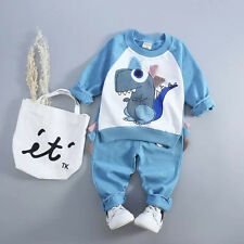 Infant Toddler Baby Boy Girl Warm Lovely Dinosaur Outfits Set Clothes 0-4Years